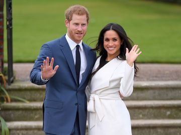 Prinz Harry Meghan Markle winken in die Kamera